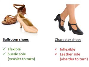 Ballroom shoes vs character shoes